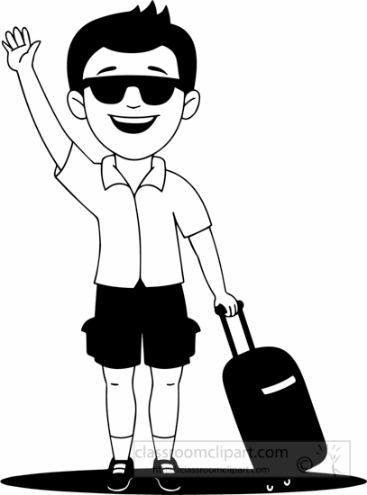 Black White Holiday Man Going On Holiday Clipart